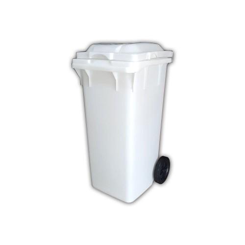 120 Litre Plastik Çöp Konteyneri Beyaz